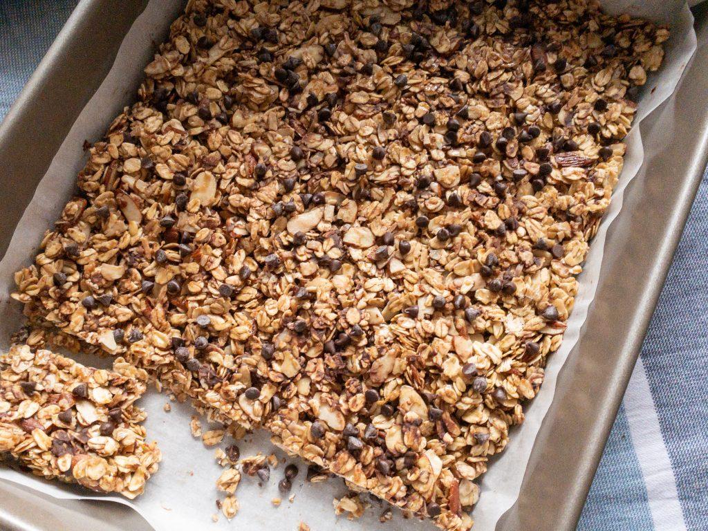 Homemade granola bars in pan